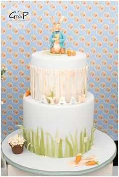 In love with the cherished Beatrix Potter character Peter Rabbit? If so then must see this Peter Rabbit Garden Birthday Party at Kara's Party Ideas! Peter Rabbit Cake, Peter Rabbit Birthday, Peter Rabbit Party, Bunny Birthday Cake, 1st Birthday Cakes, 1st Birthday Parties, Birthday Ideas, 4th Birthday, Baby Boy Cakes