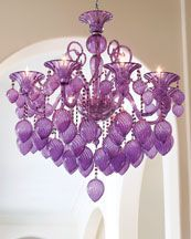 Lilac Chandelier.  Horchow I love purple in a white space #divine #home #decor