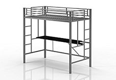 Emily Premium Twin Loft Bunk Bed With Desk, Tiny House Style, Sturdy Metal Frame and Dual Ladders, Accomodates Twin Size Mattress (Silver)