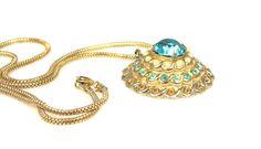 Coro Pegasus Aqua Rhinestone Dome Necklace by TheFashionDen
