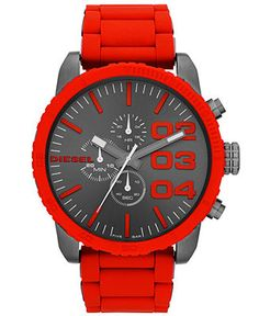 Diesel Watch, Men's Chronograph Red Silicone-Wrapped Stainless Steel Bracelet 52mm DZ4289 - Watches - Jewelry & Watches - Macy's