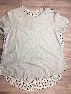 LOFT Womens chiffon back short sleeve high low top gray black white size large    eBay