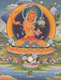 Manushri... Cutting the confusion with Buddha's blessings. Manjushri mantras are good for dispelling mental cloudiness: OM AH RA PA TSA NA DHI