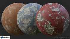 A new procedural set of Concrete / Paint and a mix of those two with controls on destruction Primary and secondary Shapes / Paint Color and Blend ) Made for Textures.com Created in Substance Designer
