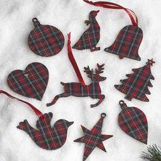Cozy Rustic Christmas-Set of tartan ornaments Tartan Christmas, Christmas Sewing, Christmas Makes, Plaid Christmas, Diy Christmas Ornaments, Rustic Christmas, Christmas Projects, Christmas Tree Decorations, Christmas Holidays