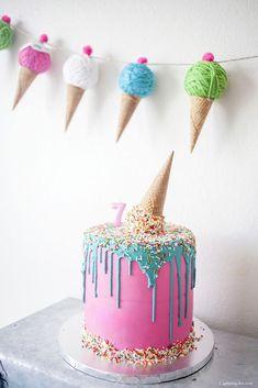 Upside down ice cream cone birthday cake - Kids Ice Cream Birthday Party Ice Cream Theme, Ice Cream Party, Ice Cream Cone Cake, Cream Cake, Ice Cream Social, Birthday Cake Girls, 2nd Birthday, Birthday Ideas, Ice Cream Birthday Cake