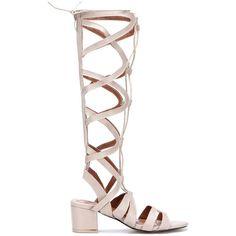 Yoins White Leather Look Knee-high Block Heel Tie Wrap Fastening... (425 NOK) ❤ liked on Polyvore featuring shoes, sandals, beige, beige sandals, block heel gladiator sandals, beige strappy sandals, white block heel sandals and summer sandals