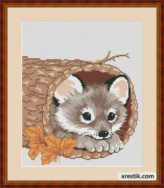 Волчонок Животные  Схема для вышивки scheme for cross stitch