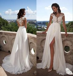 Sexy Illusion Beach Wedding Dresses 2016 Summer With 3d Floral Applique Split Cap Sleeve White Chiffon Bridal Gowns With Covered Buttons Dress Wedding High Street Wedding Dresses From Flodo, $125.18| Dhgate.Com