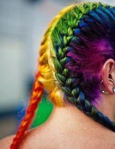 rainbow braids This hair neon balls by Doug Wheller for my hair rainbow hair Rainbow Braids, Rainbow Hair, Pretty Hairstyles, Braided Hairstyles, Hairstyle Ideas, Pelo Guay, Casting Creme Gloss, Pelo Multicolor, Coloured Hair