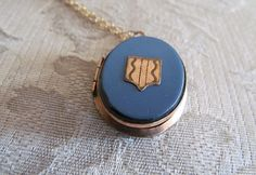 Antique Locket / Victorian Blue Enameled Jet by LUXXORVintage, $195.00