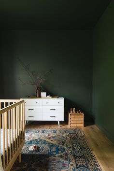 Another view of the cozy baby's room at our Ada Modern Classic project. Isn't that green just luscious and oh so dramatic! Dark Green Bathrooms, Dark Green Rooms, Light Green Walls, Wall Paint Colors, Room Paint, Green Bedroom Walls, Dark Cozy Bedroom, Gothic Bedroom, Home Design