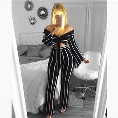 Two Pieces Stripe Off Shoulder Top Bottom Set Striped Off Shoulder Top, Off Shoulder Tops, Cardio Workout Routines, Honeymoon Outfits, Classy Women, Classy Lady, Perfect Wardrobe, Dope Fashion, Two Pieces