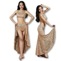 New 2018 Women Lace Belly Dance Costumes Performance Club 2Pics Top & Long Skirt