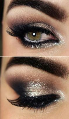 Eye Makeup Tips and Advice Eyes occupy the most prominent place among the five sensory organs of our body. Large and beautiful eyes enhance one's beauty manifold. Healthy eyes are directly related to general health. Use eye-make up v Sparkle Eye Makeup, Smokey Eye Makeup Look, Glitter Eye, Brown Makeup, Silver Glitter, Makeup Looks Tutorial, Homecoming Makeup, Makeup For Silver Dress, Black Dress Prom Makeup