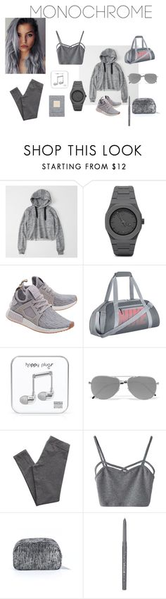 """Mrs. Grey"" by indahretnoss on Polyvore featuring Abercrombie & Fitch, CC, adidas Originals, NIKE, Happy Plugs, Yves Saint Laurent, Aerie, WithChic, Fabletics and Stila"