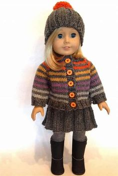Knitionary: Huckleberry Friend, free pattern for an doll Knitted Dolls Skirt, Knitted Doll Patterns, Doll Patterns Free, Sweater Knitting Patterns, Doll Clothes Patterns, Clothing Patterns, Free Pattern, Knitting Dolls Clothes, Baby Doll Clothes