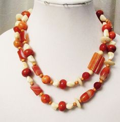 Orange Stripe Agate Jewelry, Handmade, Long Agate, Carnelian, Mother of Pearl, Bone, Wood, Geode Necklace, Healing Stones, Mothers Day Gift by DesignDimensions on Etsy