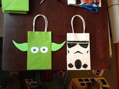 Cute DIY gift bags! Master Yoda and Storm Trooper!
