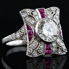 Diamond and Ruby Art Deco ring design idea... add swirls to the shoulders?