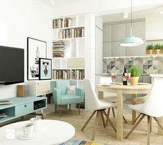 41 m2 pastelowe - Mała otwarta kuchnia w kształcie litery u, styl skandynawski - zdjęcie od Grafika i Projekt architektura wnętrz