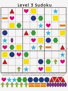 opdracht denkeiland: sudoku met kleuren en vormen (moeilijk)