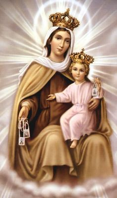 Brown Scapular of Our Lady of Mount Carmel - Why Catholics wear the scapular? It was given to us by the Mother of God as a pledge of protection & badge of salvation. Religious Pictures, Jesus Pictures, Blessed Mother Mary, Blessed Virgin Mary, Immaculée Conception, Lady Of Mount Carmel, Queen Of Heaven, Mary And Jesus, Holy Mary