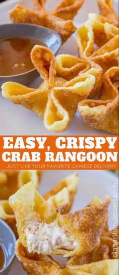 Crab Rangoon – Dinner, then Dessert Crab Rangoon are crab and cream cheese wontons pinched into little purses and deep fried, these are the perfect Chinese restaurant copycat recipe served with sweet and sour sauce or sweet chili sauce. Wonton Recipes, Seafood Recipes, Appetizer Recipes, Cooking Recipes, Seafood Pasta, Italian Appetizers, Easy Wonton Recipe, Recipes Dinner, Chinese Appetizers