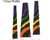 Beading Pattern Loom Bracelet Square Stitch Color Rainbow Zebra Animal Print Super Wide PDF (Sale - Buy 2 Patterns, Get 3rd at NO COST). $6.50, via Etsy.