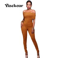 Yizekoar 2017 New Autumn fitness Women's Sexy Fashion Olive Green Mocha Faux Suede Off-the-shoulder Jumpsuit DL64198 #Affiliate