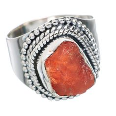 Rough Sunstone 925 Sterling Silver Ring Size 6.75 RING739691