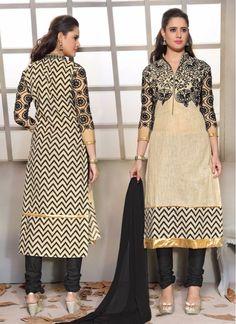 Party Cream and Black Churidar Salwar Suit