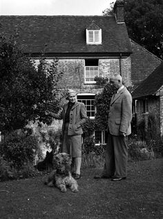 Admiral Viscount Cunningham at his country home near Winchester relaxes in his garden c. 1946