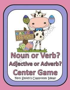 Parts of Speech Easter Center Game for Common Core from Fern Smith on TeachersNotebook.com (25 pages)  - Fern Smiths Parts of Speech Easter Center Game for Common Core