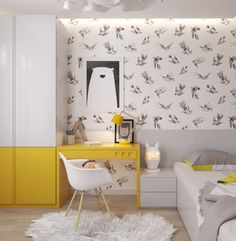 Yellow and white combination in the modern kids bedroom! #yellow #modern #kids