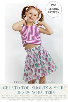 Kid's summer outfit includes top, shorts and flared skirt by Felicity Sewing Patterns. Sizes 2 to 10 years. Digital PDF sewing pattern