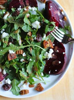 Roasted Beet and Arugula Salad with Maple Basalmic Vinaigrette | My New Roots | The Hanna Blog