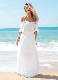 Vestido Longo Ombros de Fora Branco - Posthaus