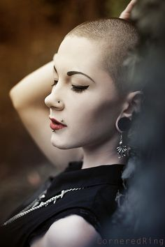 Portrait of Mademoiselle Spookiness, visit me on https://www.facebook.com/CorneredRingART    #gothic #bald #piercings