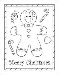 Christmas Coloring Cards For Kids Printable Free Gingerbread Boy Man