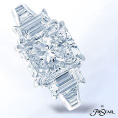 Style 1210 Stunning platinum and diamond ring featuring a 3.00ct radiant diamond with trapezoid and baguette diamonds. @jewelsbystar #platinum #radiant #engagementring