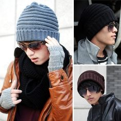 Fashion Korean Style Cool Men's Womens Winter Warm Wool Cap Snow Hat 5 Colors