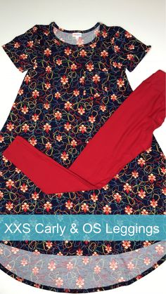 These solid red leggings go perfect with this Carly.  Come shop with me on FB: LuLaRoe Jill Drexhage or click image