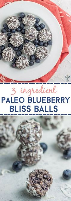 Paleo & vegan blueberry bliss balls made without dates! A healthy, gluten free, dairy free, sugar free snack