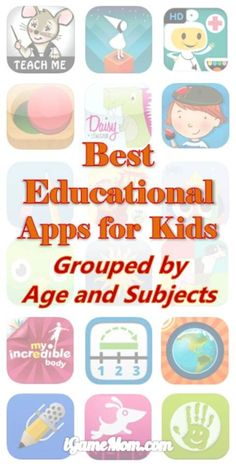 Best Educational Apps for Kids, grouped by age and subject. Top educational app recommendations from iGameMom. Best educational apps for kids, grouped by kids age and learning subjects Educational Apps For Kids, Educational Technology, Fun Learning, Learning Activities, Baby Activities, Educational Activities, Free Learning Apps, Preschool Learning, Learning Tools