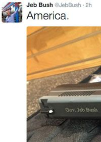 """America. pic.twitter.com/TeduJkwQF3  — Jeb Bush (@JebBush) February 16, 2016 Jeb Bush Monogrammed Gun  When: February 17  Started by: Jeb Bush  Jeb Bush really tried. He really did just try so hard to win that big president chair in the Oval Office. But as the campaign was getting desperate, Jeb did what most desperate people do: He bought a gun, got it engraved, and then tweeted it. It was immediately, and roundly, mocked, and became second only to """"please clap"""" in the list of """"embarrassing…"""