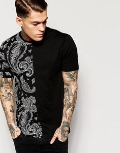 ASOS+T-Shirt+With+Bandana+Print+Cut+And+Sew+Panel