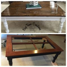 Build a wood top to update an old glass coffee table.