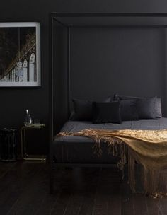 'Minimal Interior Design Inspiration' is a biweekly showcase of some of the most perfectly minimal interior design examples that we've found around the web - Black Rooms, Bedroom Black, Black Walls, Modern Bedroom, Romantic Bedrooms, Master Bedroom, Minimalist Bedroom, Dark Bedrooms, Contemporary Bedroom