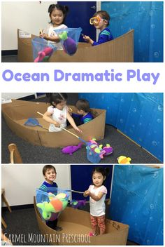 Create a boat using cardboard and add soft fish and a few nets and goggles. Watch your toddler explore and play! Dramatic Play Area, Dramatic Play Centers, Ocean Activities, Preschool Activities, Boat Theme, Best Kids Watches, Ocean Unit, Under The Sea Theme, Play Centre